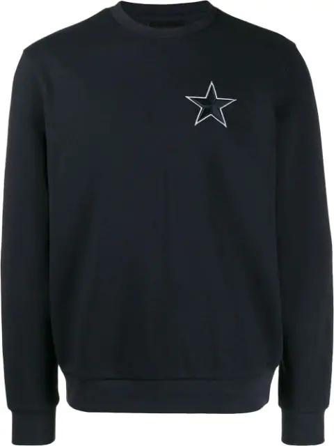Emporio Armani Star Embroidered Sweatshirt In Blue