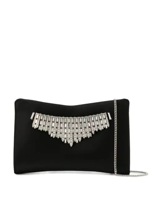 Jimmy Choo Tiara Satin Crystals Clutch Bag, Black
