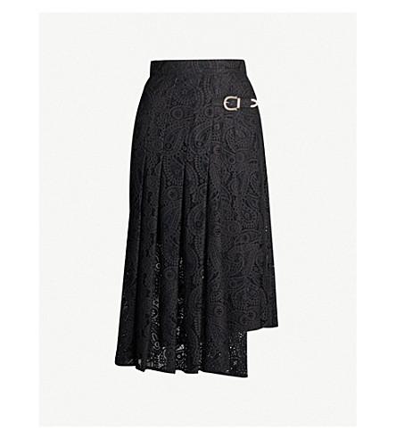 Maje Jalilo Paisley Lace Midi Skirt In Black
