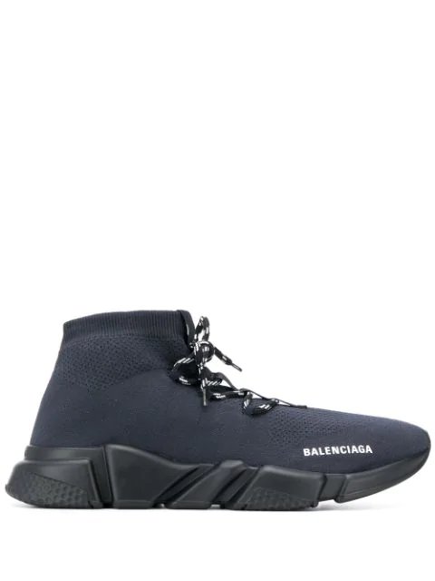 Balenciaga Speed Knitted High-Top Trainers In Blue