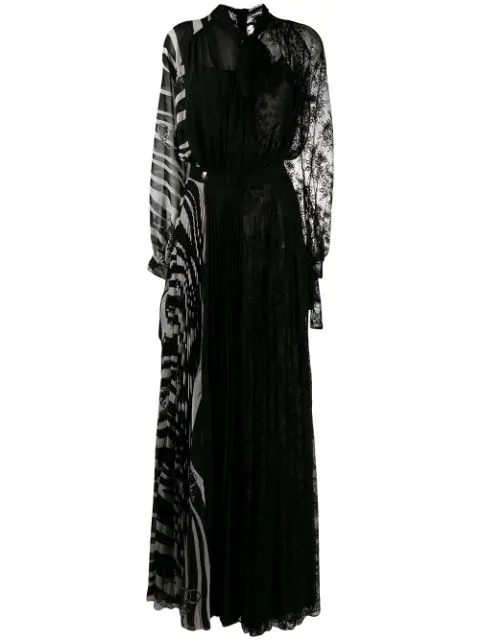 Philipp Plein Patchwork Long Evening Gown In 0201 Black / White