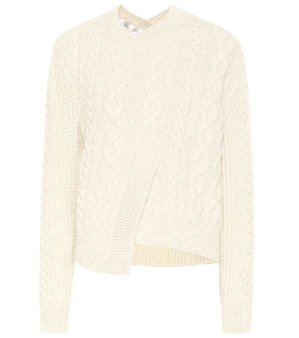 Victoria Beckham Cable-knit Wool Sweater In White