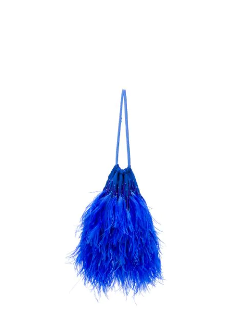 Attico Ostrich Feather-embellished Satin Clutch In Blue