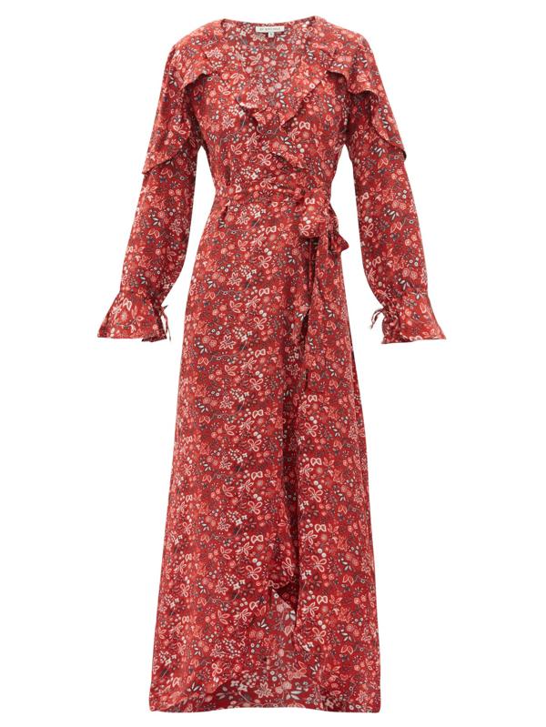 D'ascoli Leela Floral-print Silk Wrap Dress In Red Print