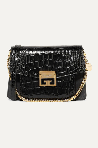 Givenchy Gv3 Small Croc-effect Leather And Suede Shoulder Bag In Black