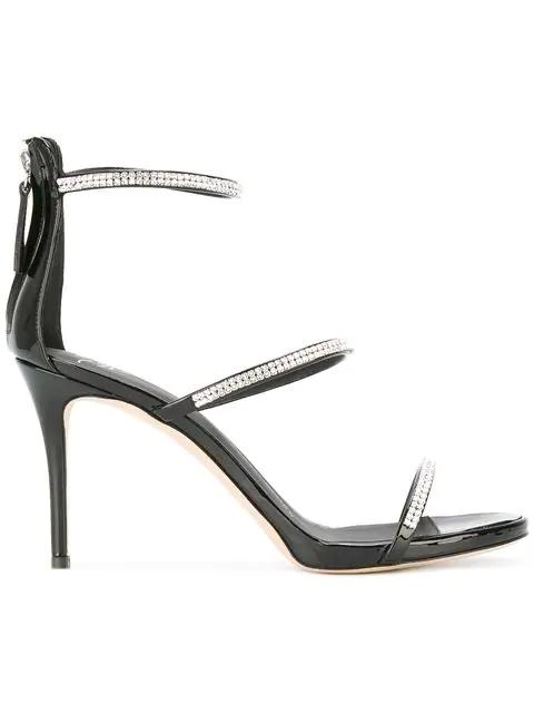 Giuseppe Zanotti 90Mm Harmony Swarovski Leather Sandals In Black