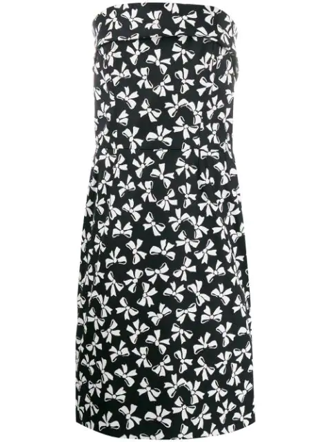 Saint Laurent 1980's Bows Print Strapless Dress In Black