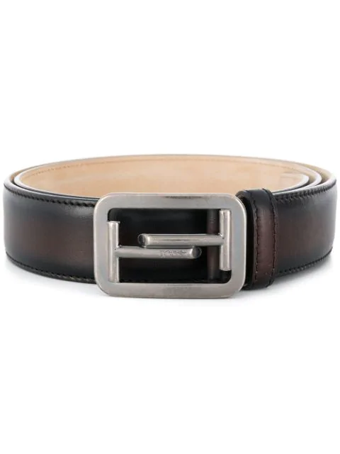 Tod's Double T Buckle Belt In S810 Tabacco