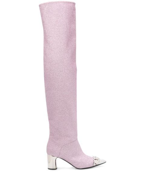 Casadei Glitter Knee High Boots In Pink