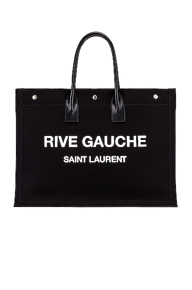 Saint Laurent Noe Leather-Trimmed Printed Canvas Tote In Black & White