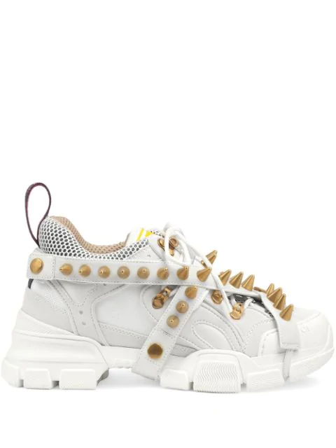 Gucci Women's Flashtrek Sneaker With Removable Spikes In White