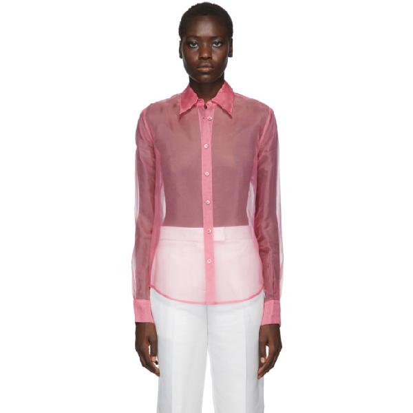 Helmut Lang Button-Down Long-Sleeve Silk Organza Shirt In J00 Pink