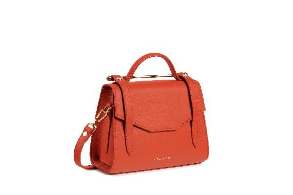 Strathberry Mini Allegro Leather Satchel In Maple