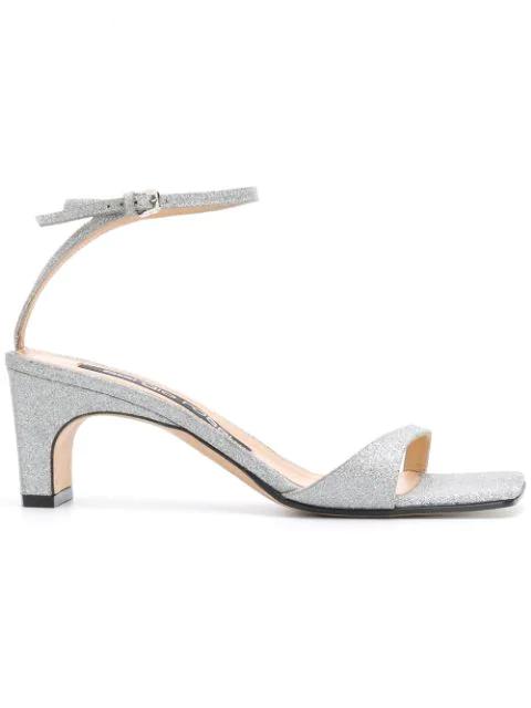 Sergio Rossi Glitter Ankle-Strap Sandals - Silver