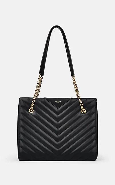 Saint Laurent Medium Tribeca Quilted Calfskin Leather Tote - Black