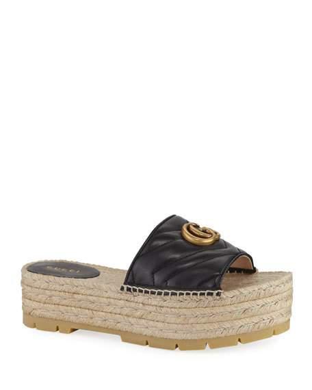 Gucci Pilar Platform Espadrille Sandals In Black