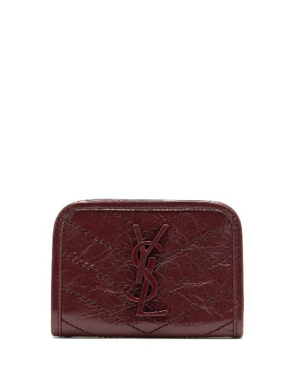 Saint Laurent Niki Crinkle-Leather Bi-Fold Wallet In Burgundy