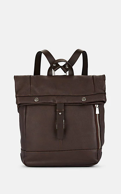 Barneys New York Roll-Top Leather Backpack - Brown
