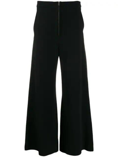 Stella Mccartney Cropped Wide-Leg Trousers In Black