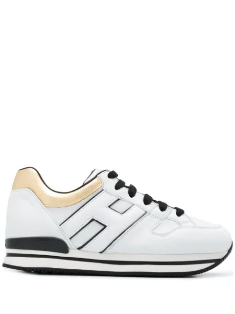 Hogan H222 Logo Sneakers In Bianco Oro Pallido