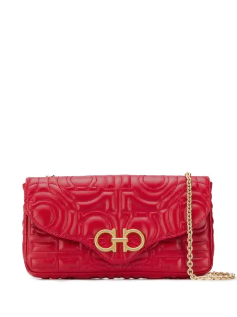 Salvatore Ferragamo Quilted Gancini Mini Bag In Red