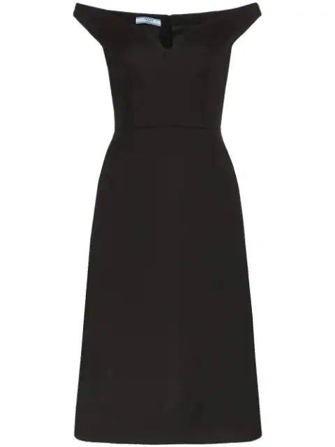 Prada Off-shoulder Bateau Neck Dress In Black