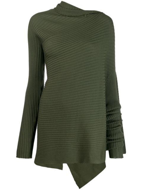 Marques' Almeida Ribbed-knit Asymmetric Jumper In Green