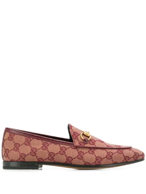 Gucci Jordaan Gg Jacquard Canvas Loafers In Red