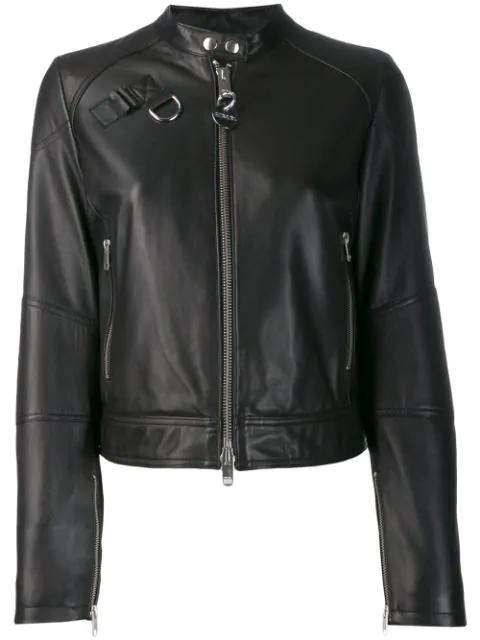 Diesel Zipped Biker Jacket In Black