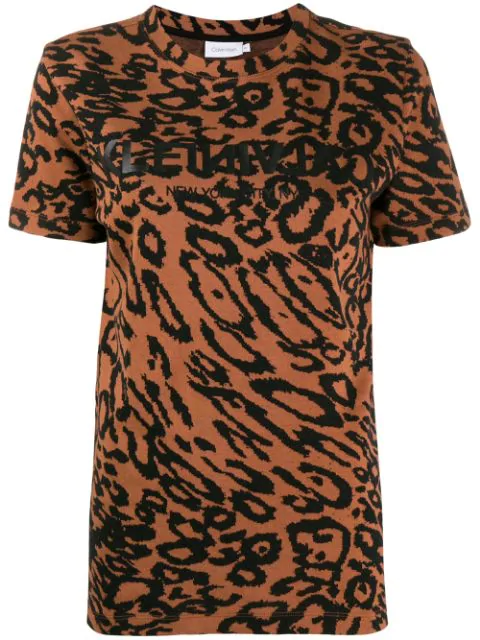 Calvin Klein Leopard PiquÉ T In Brown