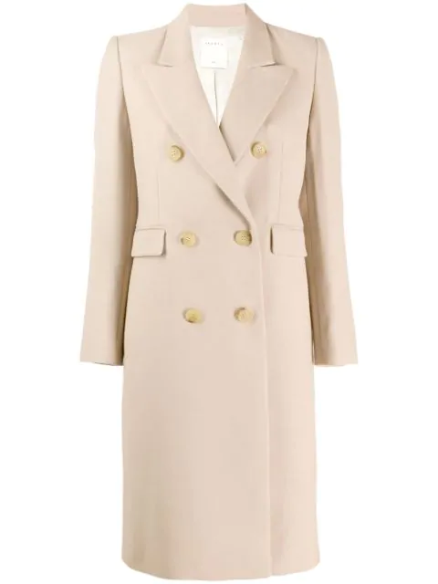 Sandro Double Breasted Coat In Neutrals