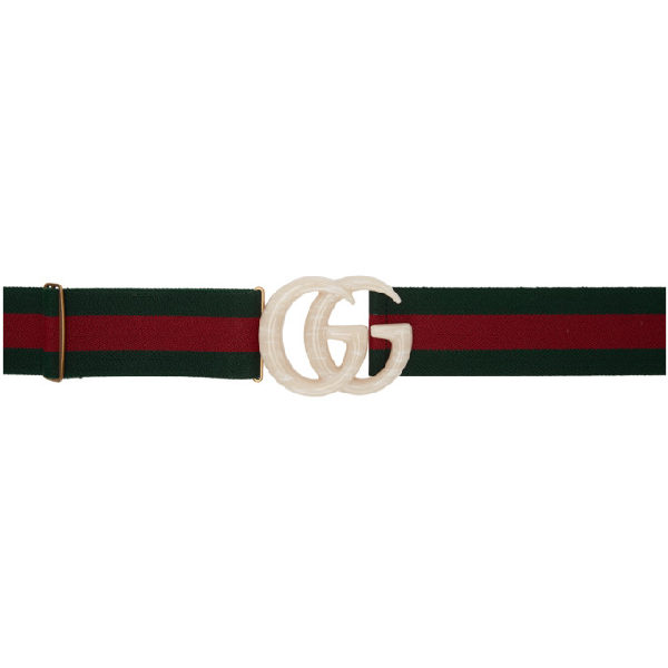 Gucci Off-white Elastic Web Gg Belt In 8481 Grey