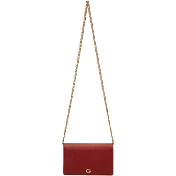 Gucci Gg Marmont Mini Chain Bag In 6433 Red