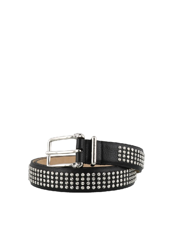 Alexander Mcqueen Twin Skull Studded Calfskin Thin Belt In Black