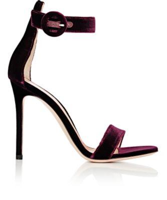 Gianvito Rossi Portofino 105 Velvet Heeled Sandals In Burgundy