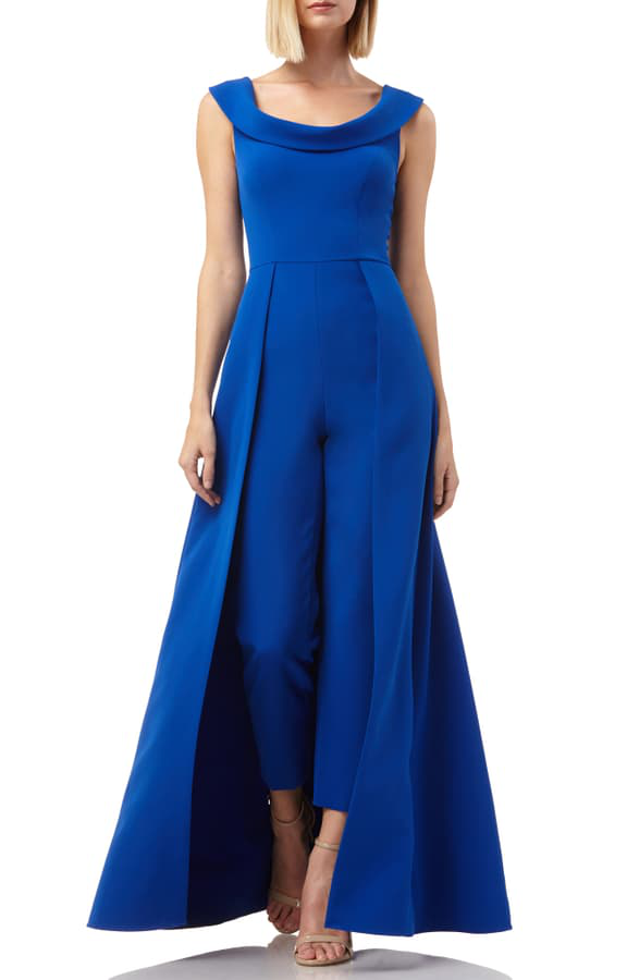 Kay Unger Anais Stretch Crepe Jumpsuit With Skirt Overlay In Sapphire