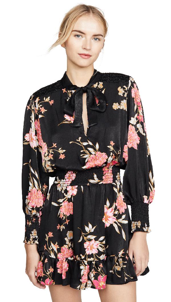 Misa Iyana Floral Tie-Neck Smock-Waist Mini Dress In Ra4