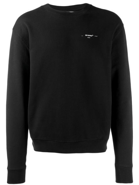 Off-white Acrylic Arrows-print Cotton-jersey Sweatshirt In Blk Wht