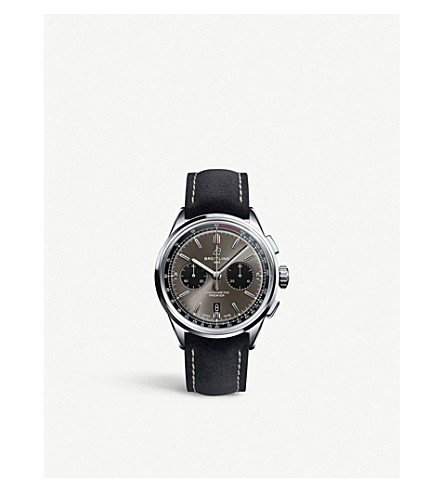 Breitling Ab0118221b1x1 Premier B01 Chronograph 42 Stainless Steel And Leather Watch In Black