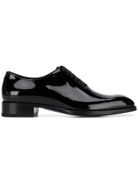 Tom Ford Elkan Whole-cut Patent-leather Oxford Shoes In Black