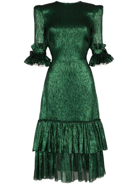 The Vampire's Wife The Veneration Tiered Silk-blend Lamé Dress In Green