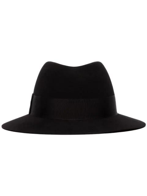 Saint Laurent Grosgrain Trim Felt Fedora Hat In 1000 Black