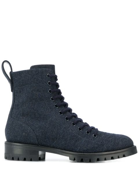 Jimmy Choo Cruz Flat Combat Boots In 蓝色