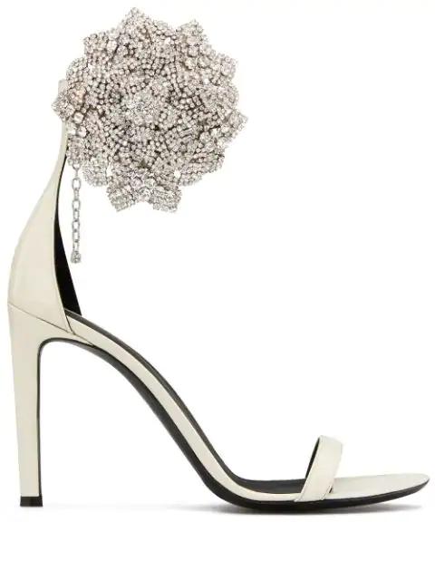 Giuseppe Zanotti Crystal Embellished Pumps In White