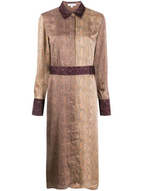 Joie Christabella Snake Print Long Sleeve Shirtdress In Amphora Multi