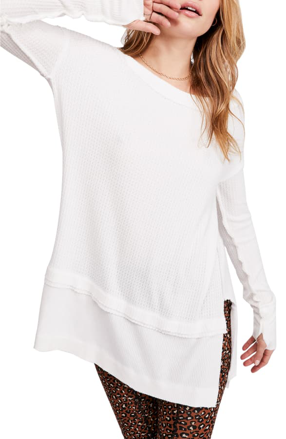 Free People North Shore Thermal Knit Tunic Top In White