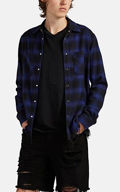 Amiri Plaid Cotton Flannel Shirt In Blue