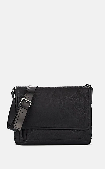 Barneys New York Leather Messenger Bag - Black