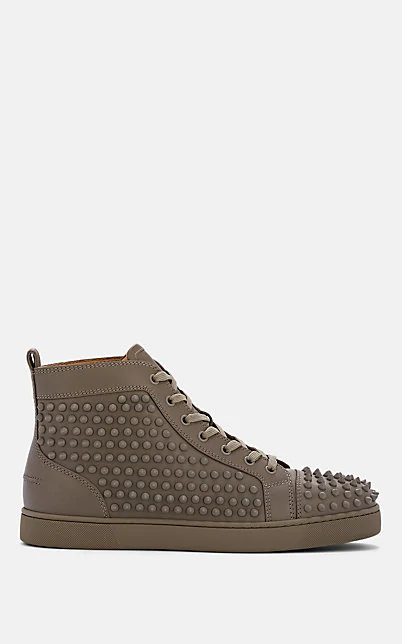 Christian Louboutin Louis Flat Leather Sneakers In Gray