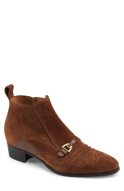Gucci Moloch Bit-Detailed Suede Boots - Med. Brown In Med.Brown